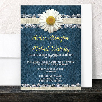 Daisy Reception Only Invitations - Burlap and Lace Rustic Blue Denim Floral -  Post-Wedding Reception - Printed Invitations