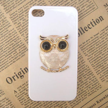 Steampunk Owl White hard case For Apple iPhone 4 case iPhone 4s case cover