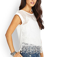 LOVE 21 Embroidered Mesh Top Ivory