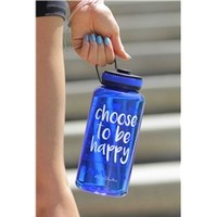 Choose To Be Happy Wide Mouth Timer Bottle in Sapphire Blue