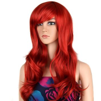 Wigs 28 inch Wavy Curly Cosplay Wig Women Wig Long Hair Heat Resistant Wig (Red)