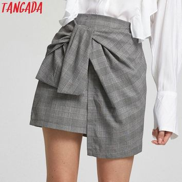 Tangada Women Skirt Fashion 2017 Plaid Gray Mini Skirts Asymmetrical Knotted Zipper Casual Brand Feminina Mini Saias Faldas Jupe