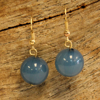 Single Bead Earrings, Blue