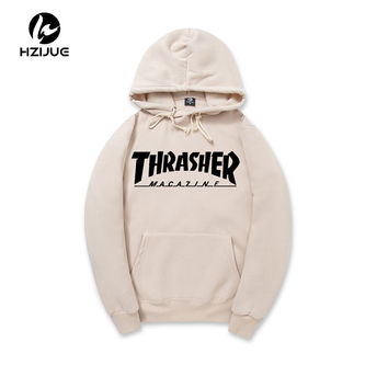 2017 New Fleece Autumn Winter Trasher Men's Hoodies Streetwear Skateboard Hip hop Hoody Thrasher Sweatshirt Men Women Sweat XXL