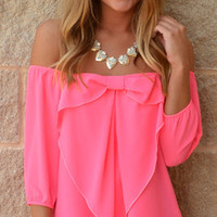 Talk BOW-y 2 Me Top · Haute Pink