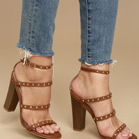 Maia Cognac Studded Ankle Strap Heels