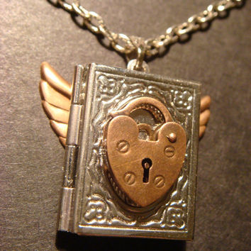 Steampunk  Book Locket with Wings and Heart by CreepyCreationz
