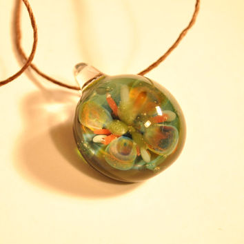 Blown Glass Flower Pendant , Focal implosion imploded green Blown Glass Necklace , Boro , Nature Jewelry Rainbow Bright
