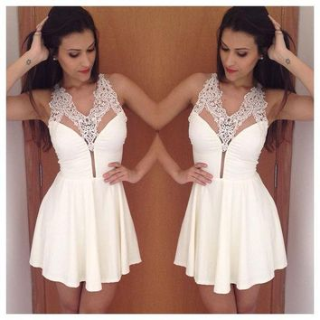 ONETOW Sexy White Lace Hollow Sequin Halter Mini Dress