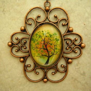 Handmade Jewelry, Tree of Life Glass Pendant Necklace, Vintage Copper