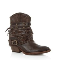 Limited Brown Leather Embossed Strap Buckle Cowboy Boots