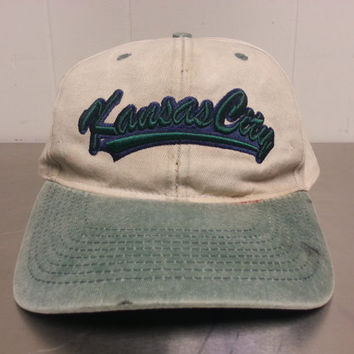 Vintage 90's Kansas City Tourist Snapback Dad Hat Green Light Brown Grunge Hipster Syle Made by Fahrenheit