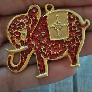 1 Piece Gold Plated Metal Elephant Enamel Pendant,  Silver Bishop Charm, Jewelry Supply, Jewelry Findings