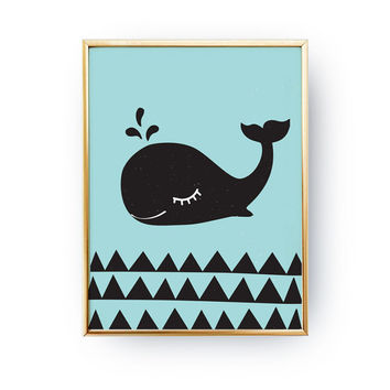 Whale Poster, Cute Whale, Whale Wall Prints, Children Print, Nautical Nursery, Kids Wall Art, Whale Print Art, Nursery Art, Kids Wall Decor.