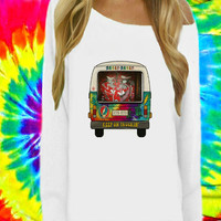 Grateful Dead DeadHead Hippie Van Truck Off The Shoulder Sweatshirt