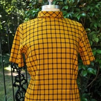 Vintage 60's Dress Mustard Yellow and Black Checkered New York Taxi Short Sleeved Mock Turtleneck Shift Twiggy Dress