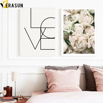 VERASUN Rose Flower Love Nordic Poster Wall Art Canvas Painting Flower Posters And Prints Wall Pictures For Living Room Quadro
