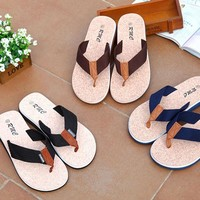 Summer Sandles Beach Shoes Unisex Fashion Slippers Beach Flip-flops PU Leather Slippers Casual Cool Slippers 40-45