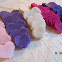 Pinks and Purples Felt Heart Shapes---DIY Kits for Valentine's Day