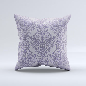 Light Purple Damask Floral Pattern ink-Fuzed Decorative Throw Pillow