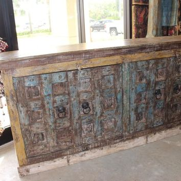 HUGE Antique Wooden Sideboard Console Rustic Chest Buffet Solid Wood Original Finish Cabinet Storage Interior Design