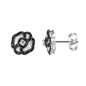 Black & White Elegant Iced Out Sterling Silver Flower Style Solitaire Designer Earrings
