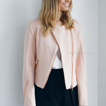 stylestalker chicago biker jacket - blush