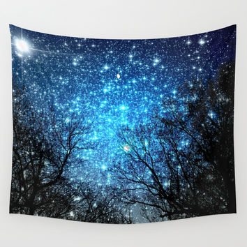 Black Trees Blue SPACE Wall Tapestry by 2sweet4words Designs