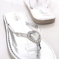 Silver Faux Leather Rhinestone Heart Thong Strap Foam Sandals