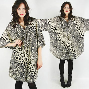 vtg 80s beige black ABSTRACT polka dot CIRCLE novelty print slouchy OVERSIZED button up tunic shirt top S M L