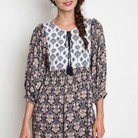 Printed Smock Dress - Navy