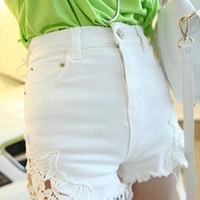 070609 Stitching lace waist shorts denim material from cassie2013
