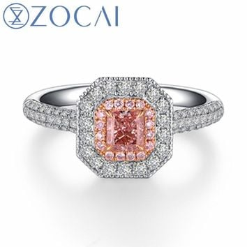 ZOCAI Brand Wedding Ring real natural GIA certificated main stone 0.36 CT FANCY PINK / SI1 18k white gold (AU750)engagement ring