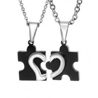 Dixivi Jewelry a Pair Valentine Couple Matching Puzzle Piece Stainless Steel Open Heart Necklace Sets