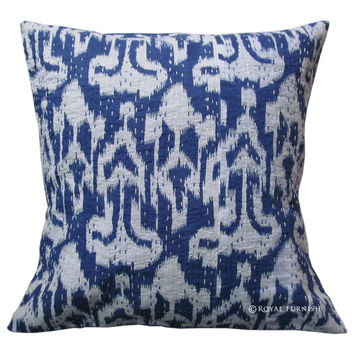 "16"" Blue ZigZag Ikat Kantha Decorative Cotton Pillow Case Sham"