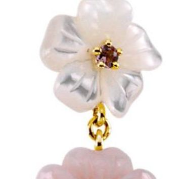 Pink Tourmaline, Mother of Pearl & Diamond 14kt Gold Flower Pendant/Necklace