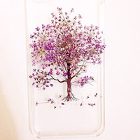 Handmade Real Natural Pressed Flower iphone 6 6 plus case iphone 4s 5 5s 5c case cover samsung galaxy s5 note 2 note 3 case purple red tree