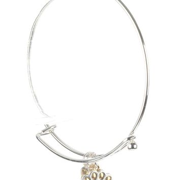 Gold Metal Bearpaw Charm Wire Bangle Bracelet