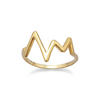 14 Karat Gold Plated Heartbeat Design Ring