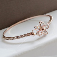 Intriguing Full Rhinestone Flower Bangle