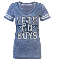 Dallas Cowboys Women's Versailles Burnout V-Neck T-Shirt - Navy Blue
