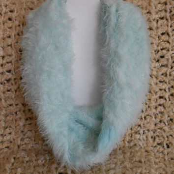 very soft Mint Green Fuzzy Infinity Scarf, Womens, Upcycled, Teens