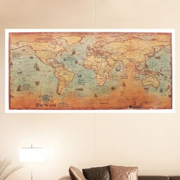World Map Poster Vintage Ancient Sailing Map Wall Sticker Large Retro Paper Bar Cafe Pub Living Room Home Decor 100x50cm