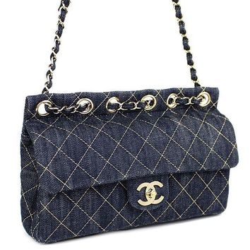 CHANEL Quilted Sparkring Matelasse Denim Chain Shoulder Bag #37652 free shipping