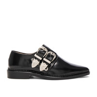 TOGA PULLA Buckled Leather Oxfords in Black Polido | FWRD