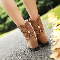 Rhinestone Bow Ankle Boots Women Shoes Fall|Winter 5536