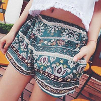 2016 Womens Summer Casual Loose Loose Shorts Floral Boho Beach Hot Short Pants