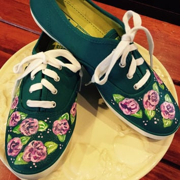 Lilly Pulitzer inspired design painted on teal keds sneakers