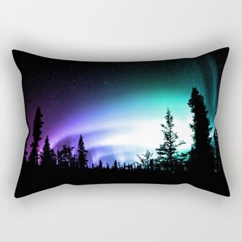 Aurora Borealis Forest Rectangular Pillow by 2sweet4words Designs