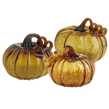 Amber Crackle Glass Pumpkins